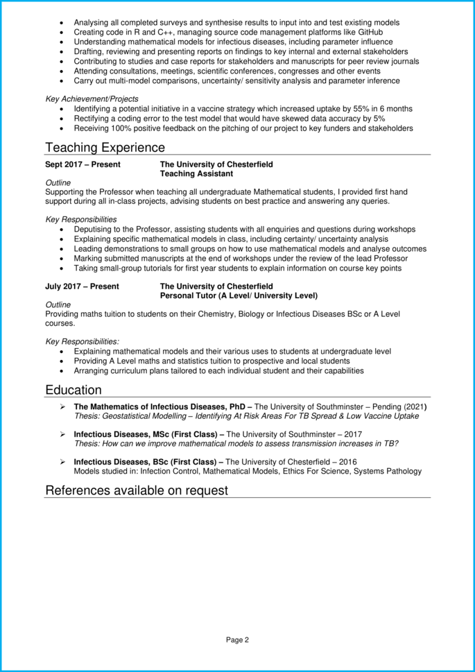Research assistant CV page 2