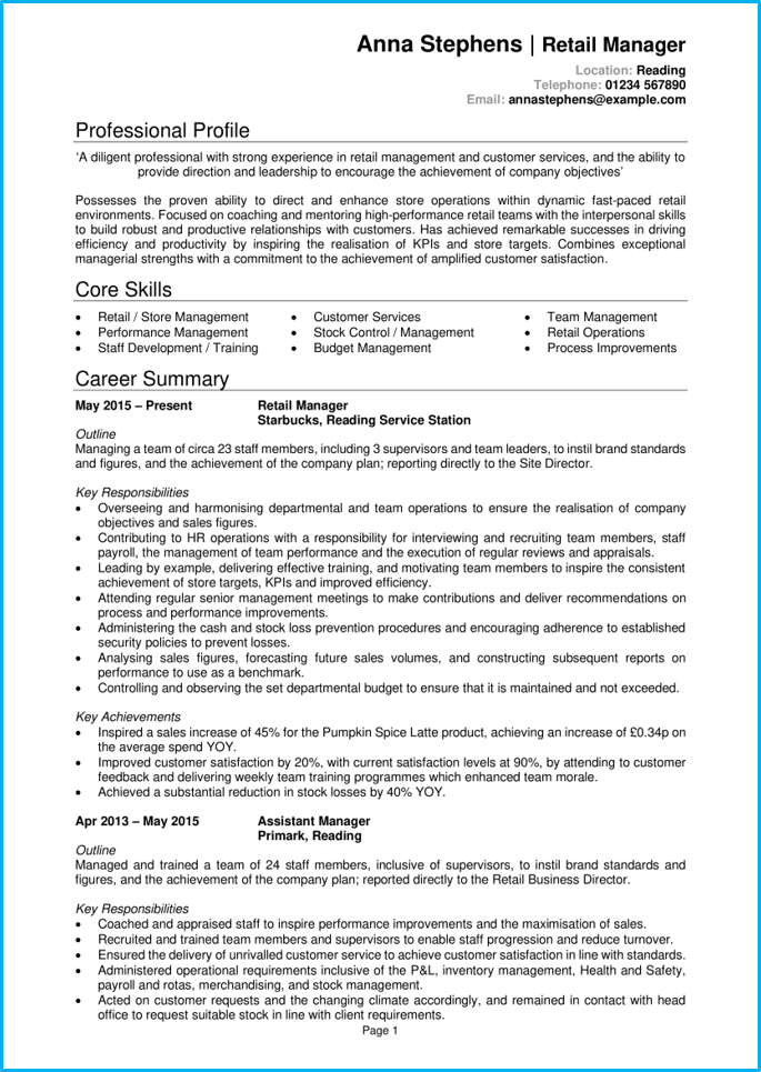 Retail manager CV page 1