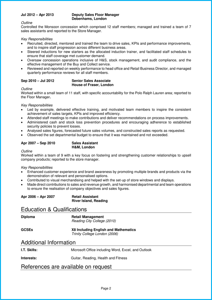 Retail manager CV page 2