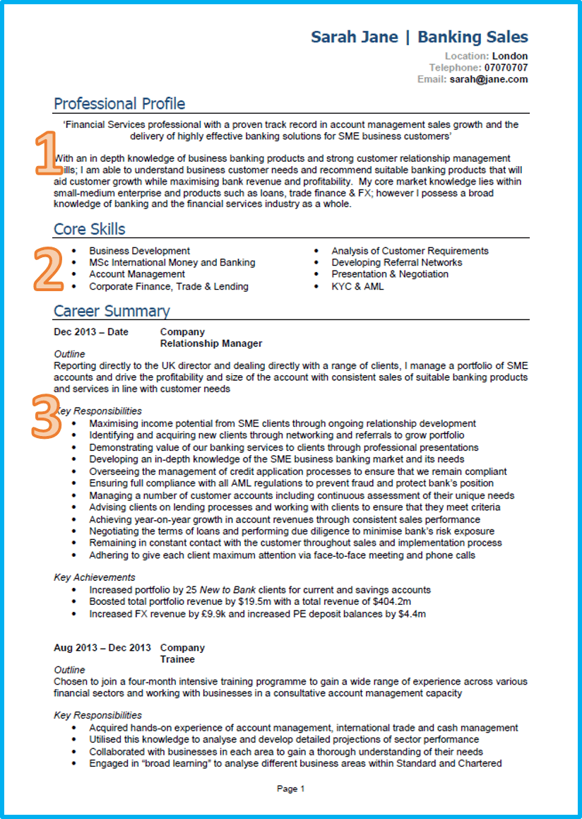 Sales CV Regard To Example Of A Cv
