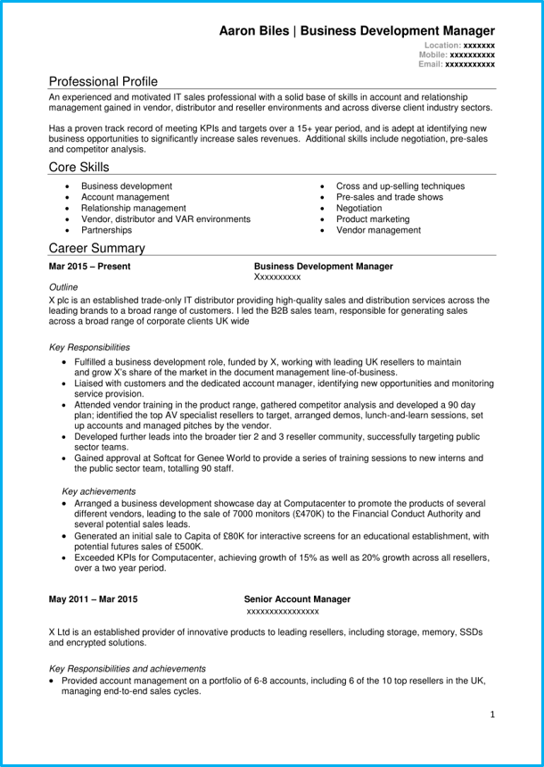 Sales CV template  4 example sales CVs  Land a top sales job