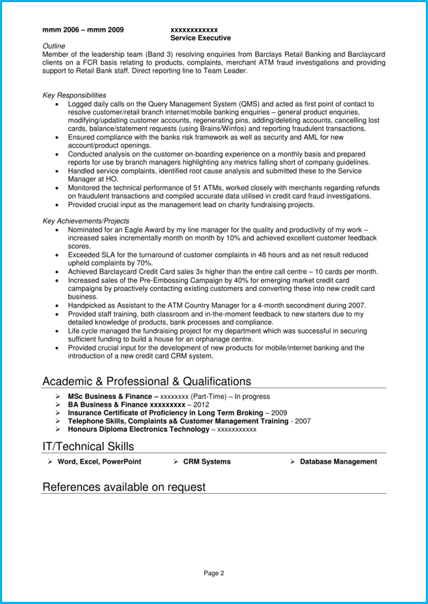 Google Docs Sales CV executive page 2