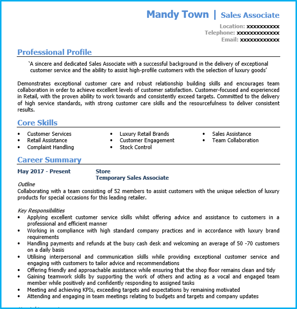 personal statement template sales assistant