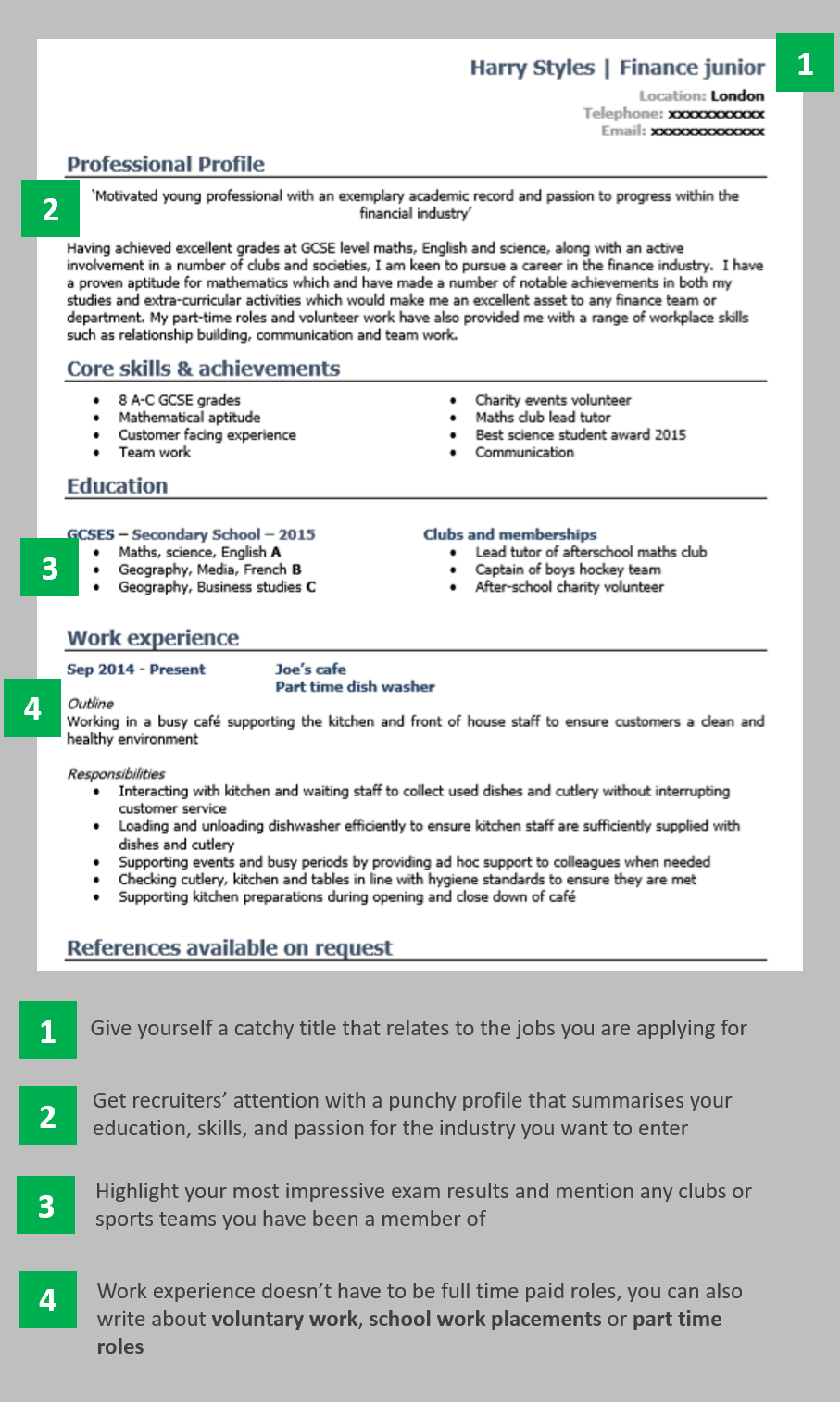 School leaver CV example page 1