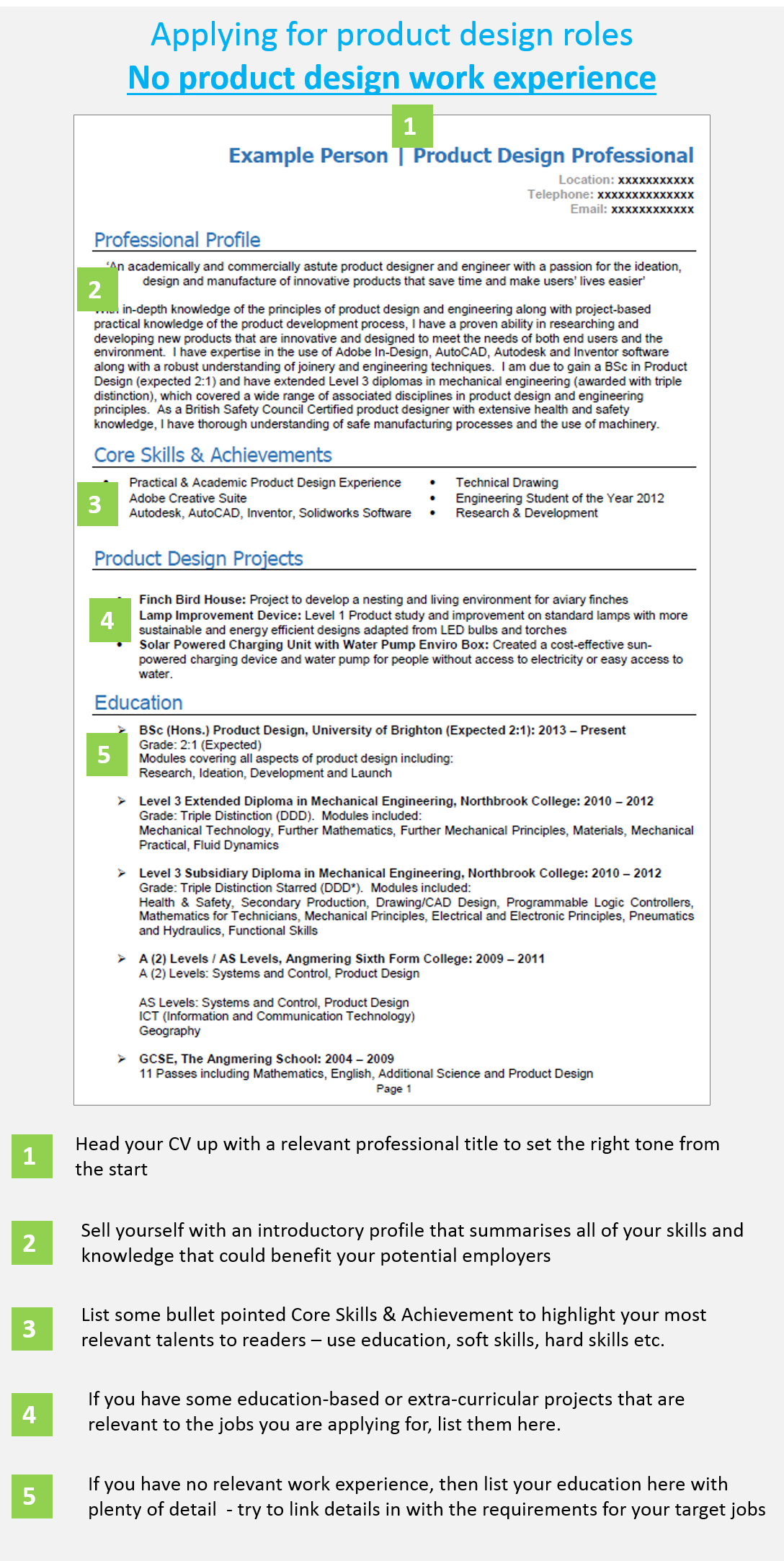 School leaver example CV 1