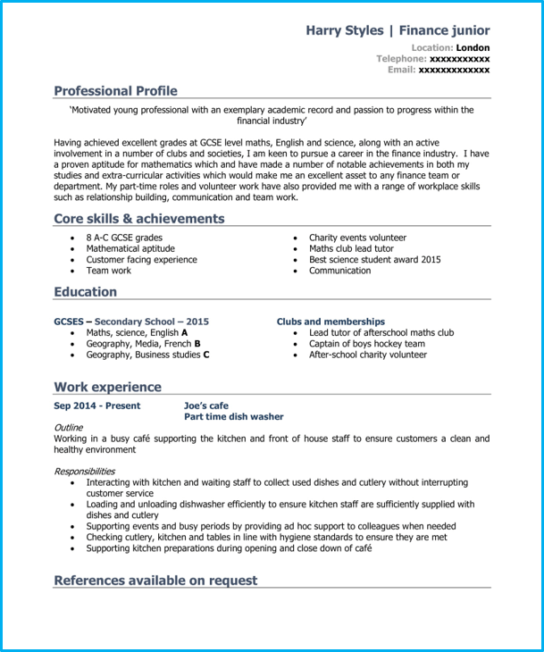 School leaver CV template