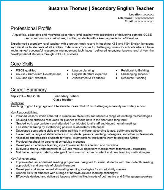 cv profile examples for teaching