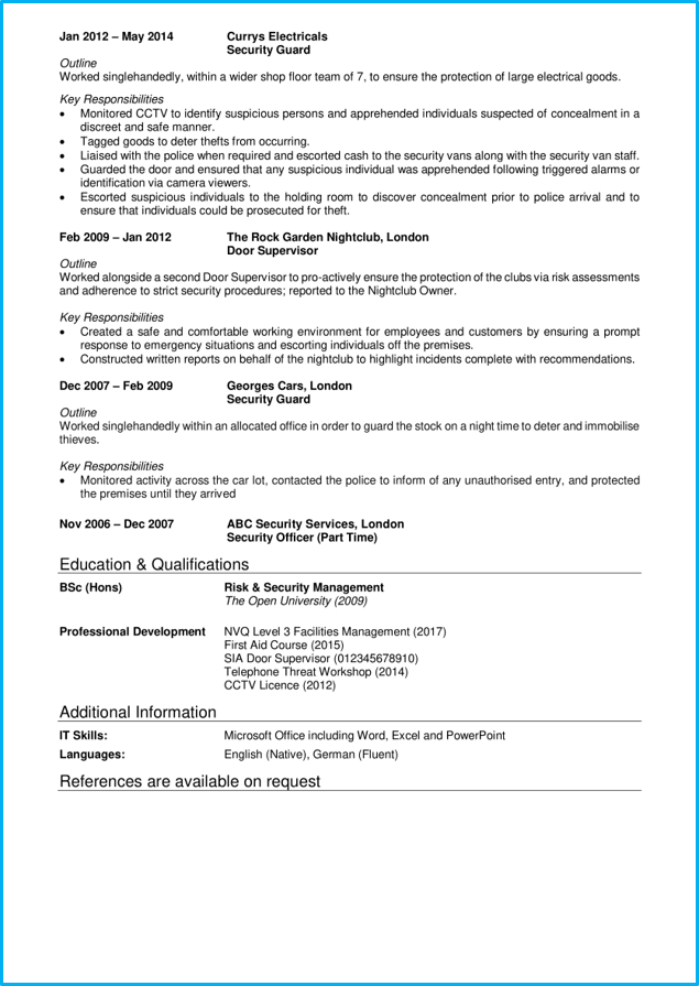 Security guard CV page 2