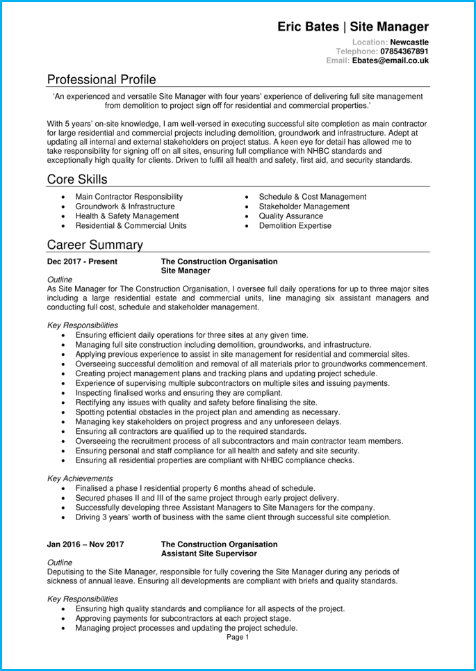 Site manager CV page 1