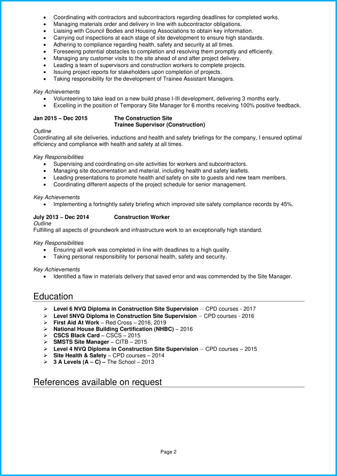 Site manager CV page 2