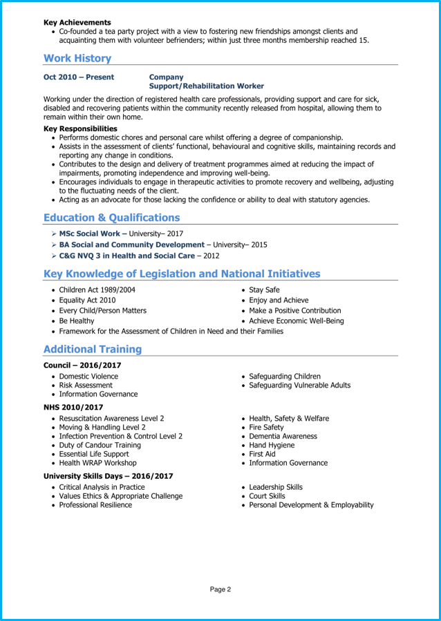 social worker cv example   writing guide  get hired