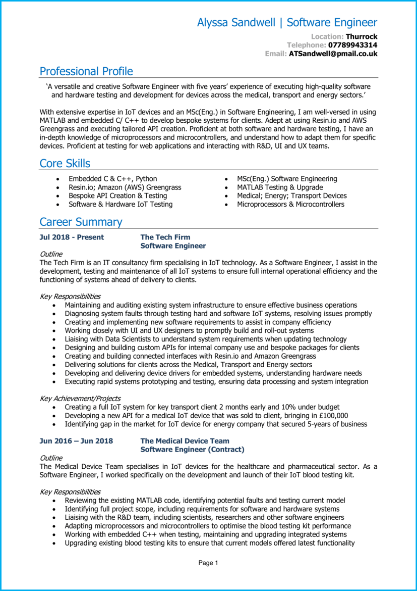 software engineer CV 1
