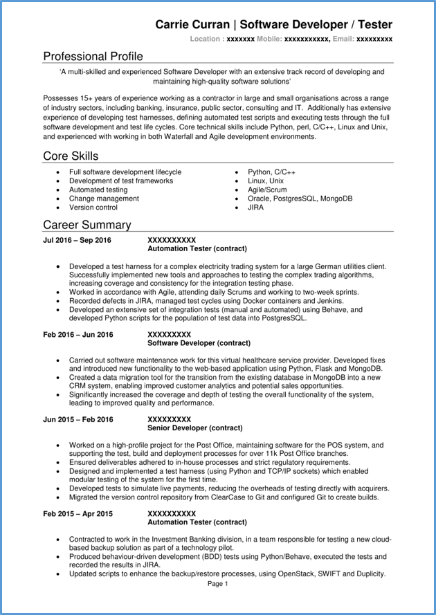 Software Developer Cv Example Writing Guide Get Hired Quickly