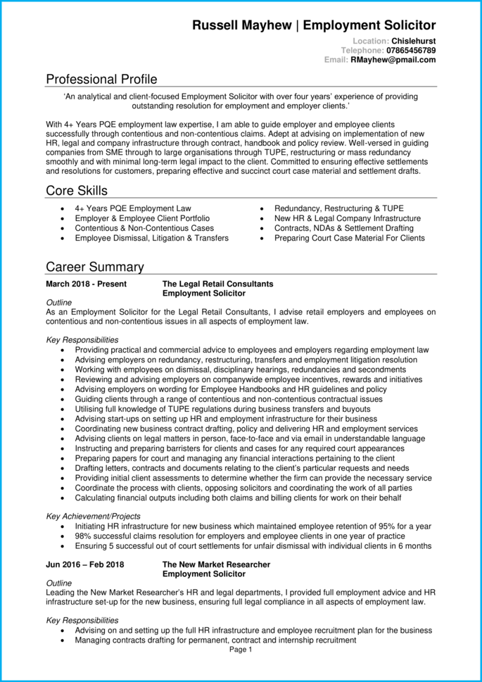 Solicitor CV page 1