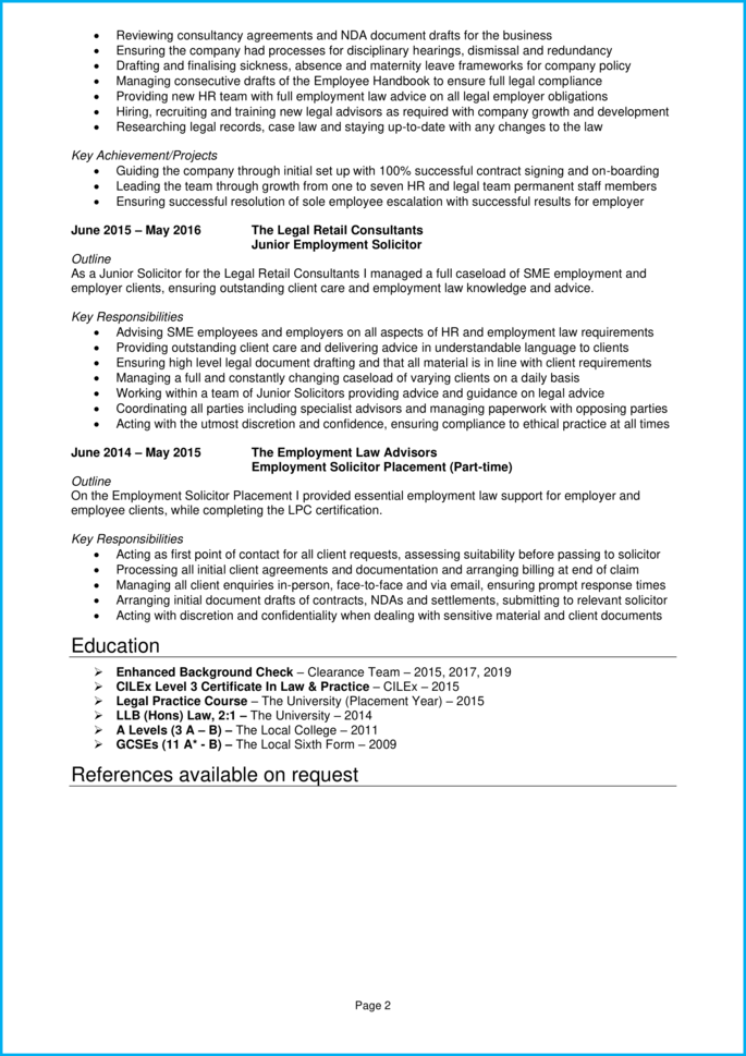 Solicitor CV page 2