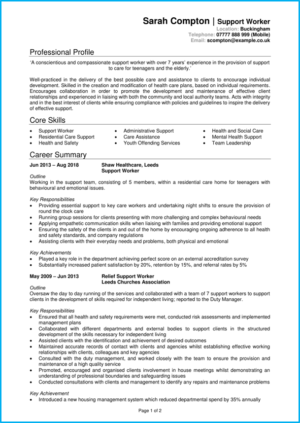 Support Worker Cv Example Writing Guide Get Job Interviews