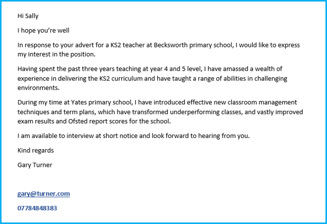 Teacher cover letter example 1
