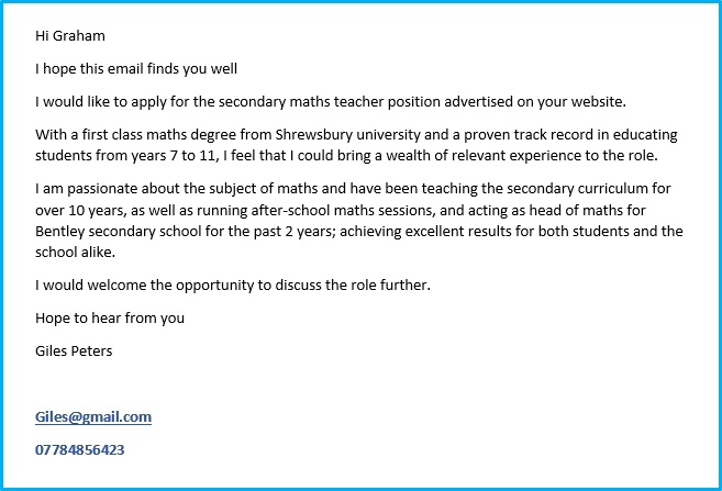 Teacher cover letter example 2
