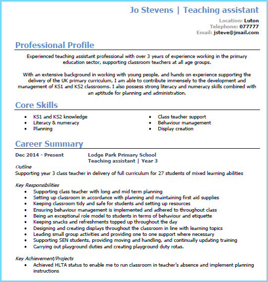 Captivating Teaching Assistant CV Example Page 1