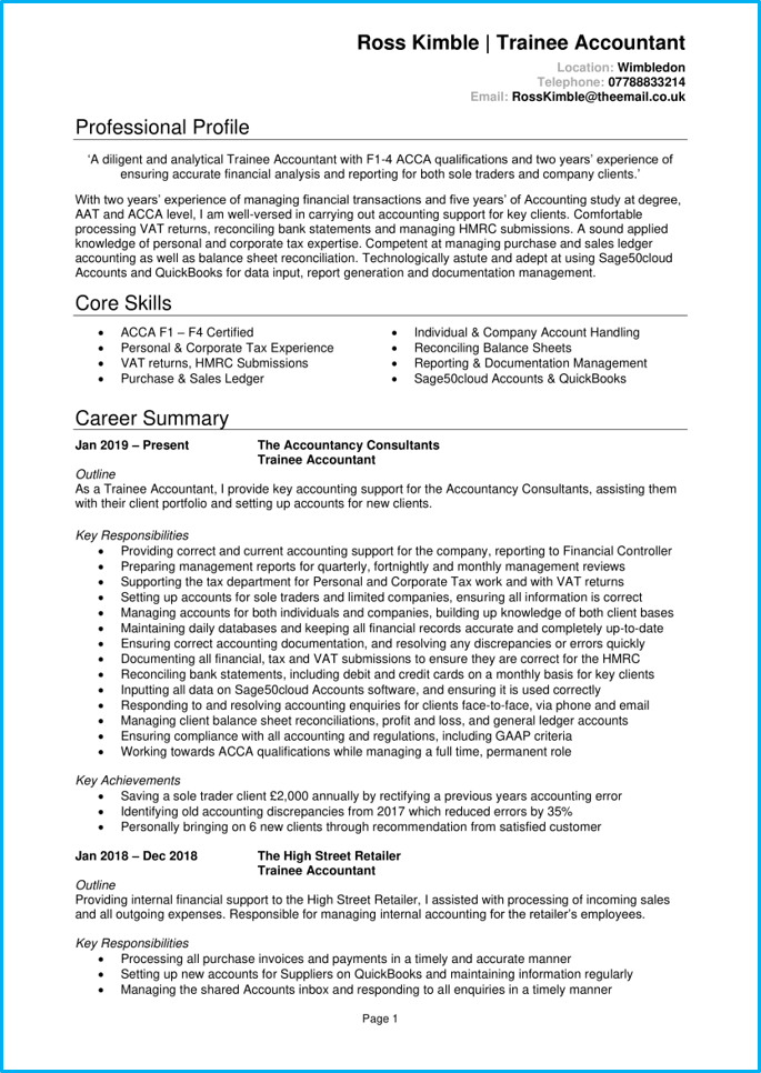 Trainee accountant CV page 1