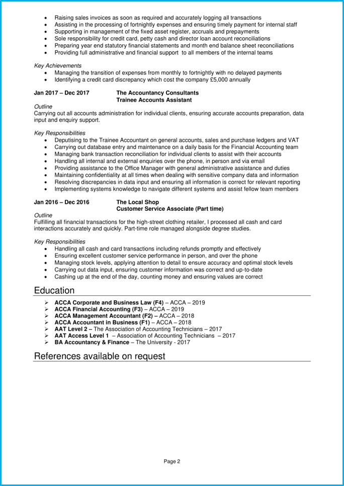 Trainee accountant CV page 2