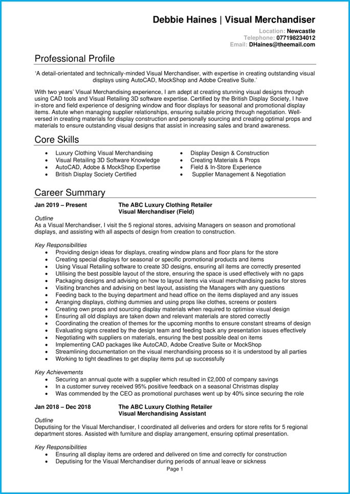 Visual merchandiser CV page 1