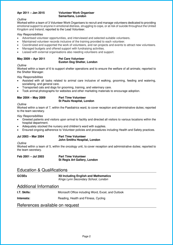 Volunteer Cv Example Writing Guide Secure A Rewarding Role