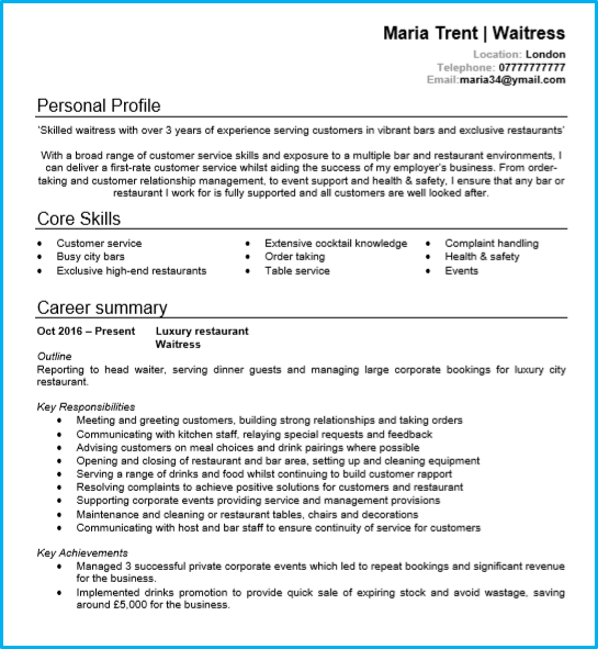 Personal Resume Examples Waitress Or Waiter Cv Example With Writing Guide And Template