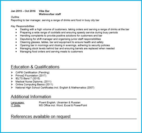 Waiter Waitress Resume And Cover Letter Examples: Example Of Cv Waiter