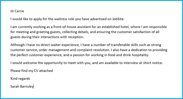 Waitress/waiter cover letter example