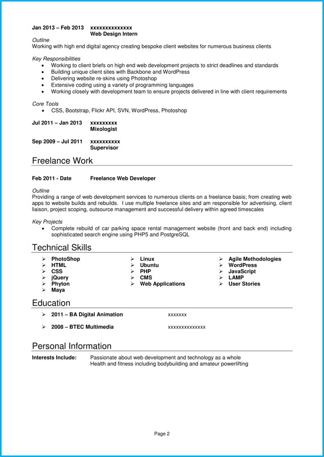 Creative Web developer CV template page 2
