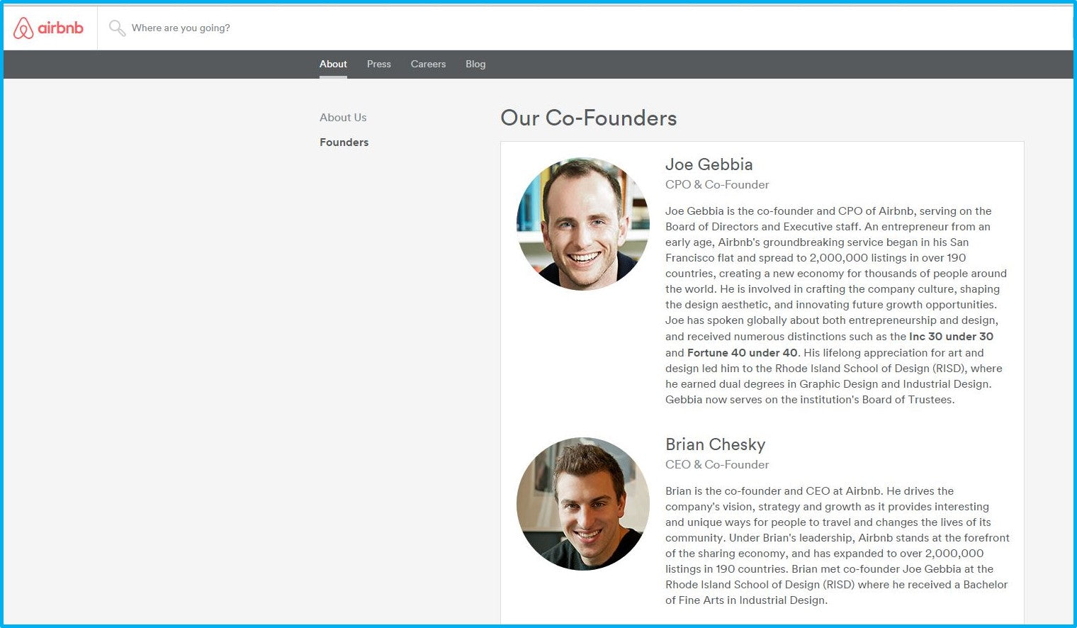 airbnb founder page