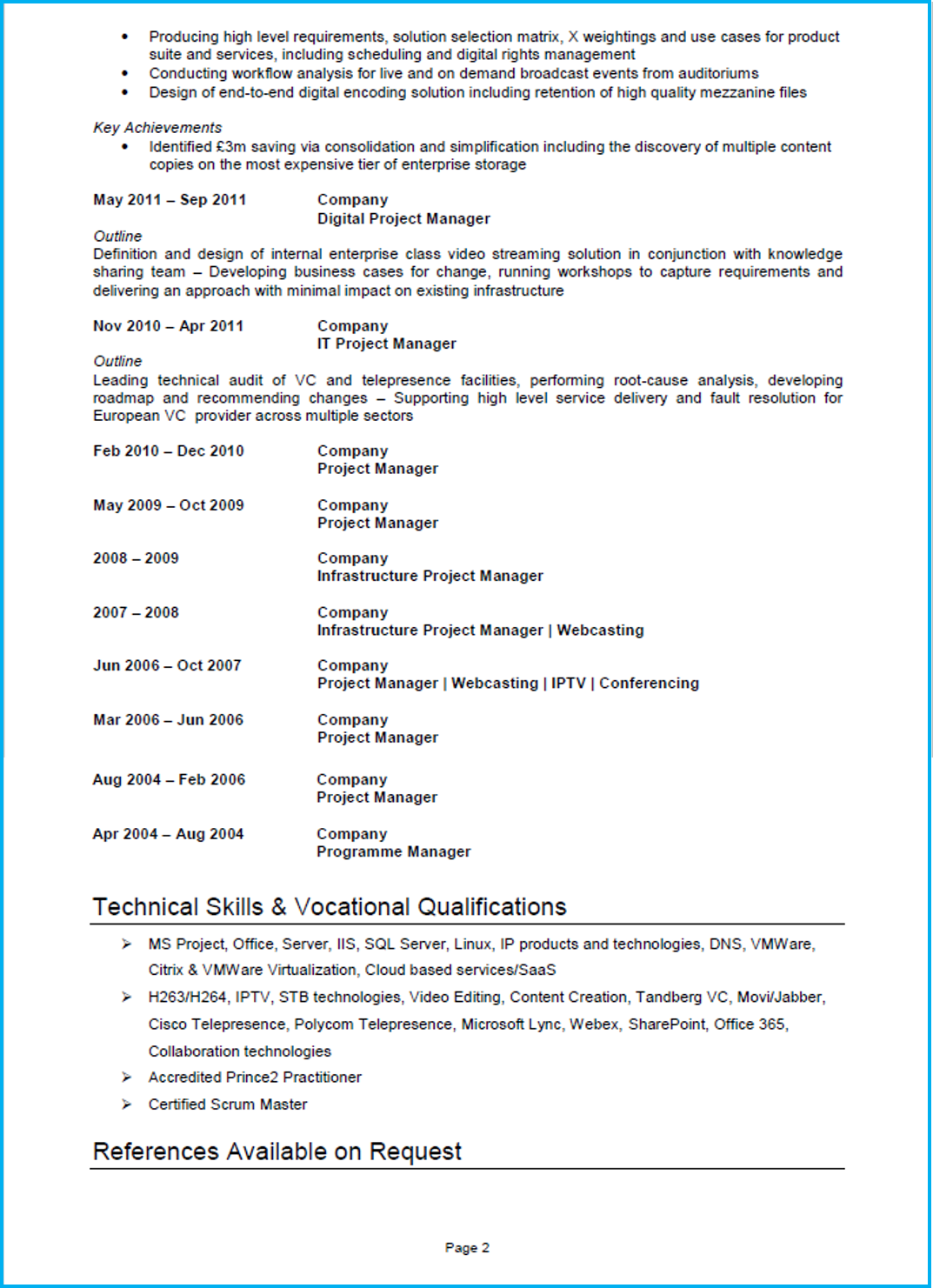 Project Manager CV template Word UK page 2