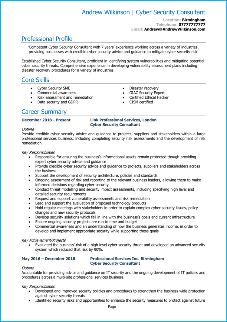 cyber security CV - consultant 1