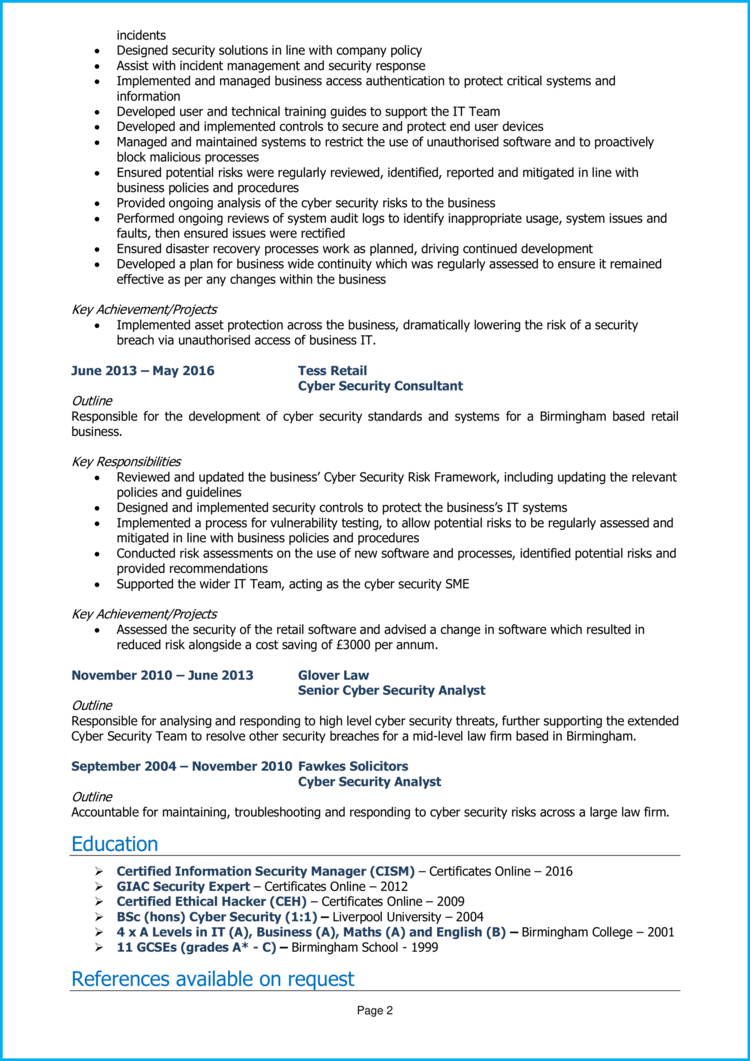 cyber security CV - consultant 2