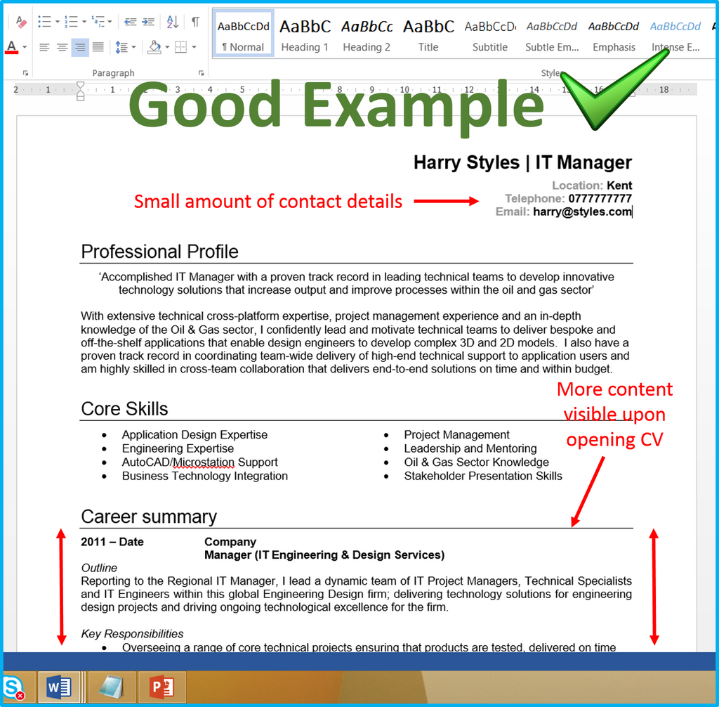 how to write your availability on a cv