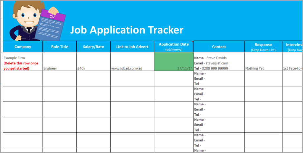 Job Application Tracker Screenshot  Job Sheet Template Free Download
