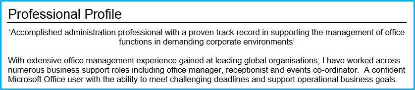 CV Profile office manager