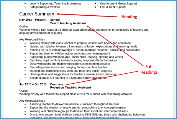 Order Of Headings On A Resume