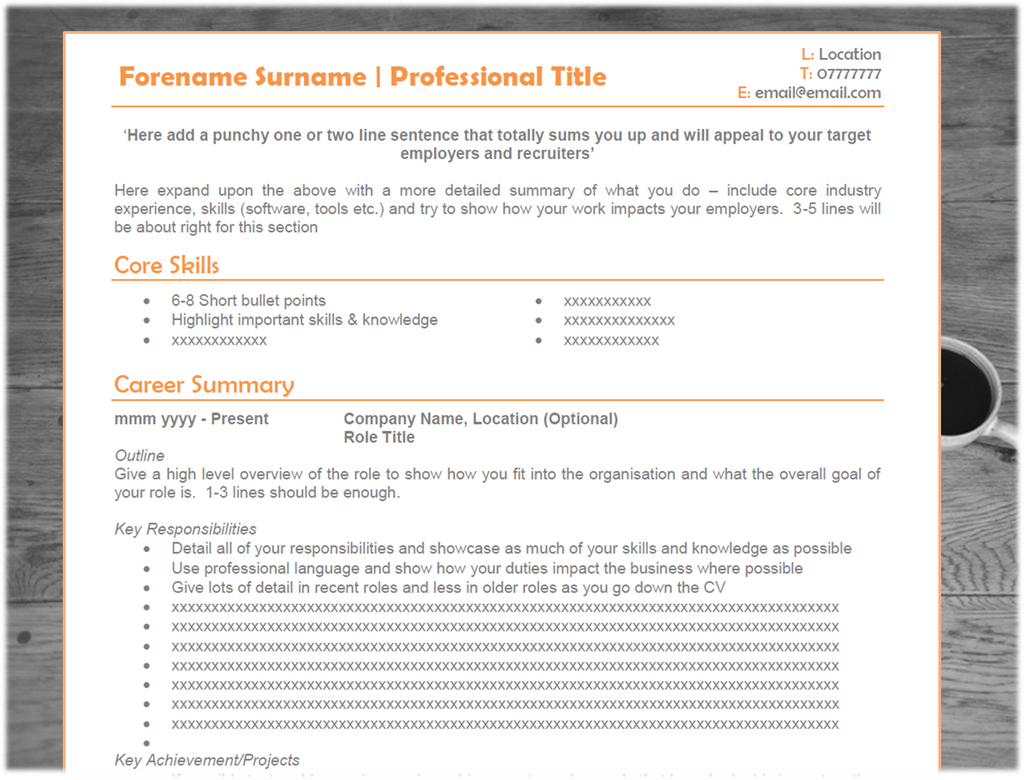 tech cv template orange tech cv template