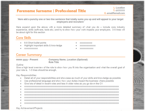 Orange Tech CV Template