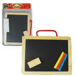 Wooden Chalkboard with Chalks and Wiper