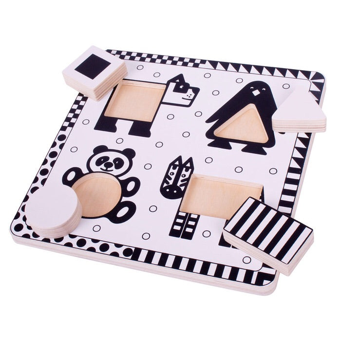 Black and White Puzzle Animals
