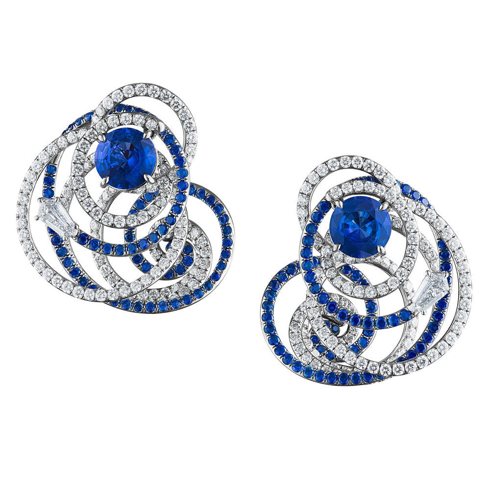 Arshee earrings in blue sapphires and diamonds