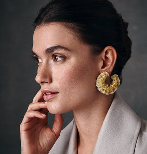 Load image into Gallery viewer, Canary Azalea earrings in fancy yellow and white diamonds