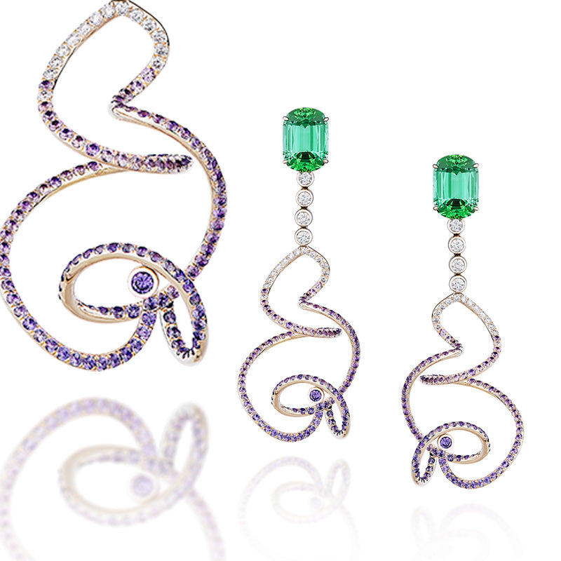 Eonia earrings in green tourmalines, diamonds and purple sapphires.