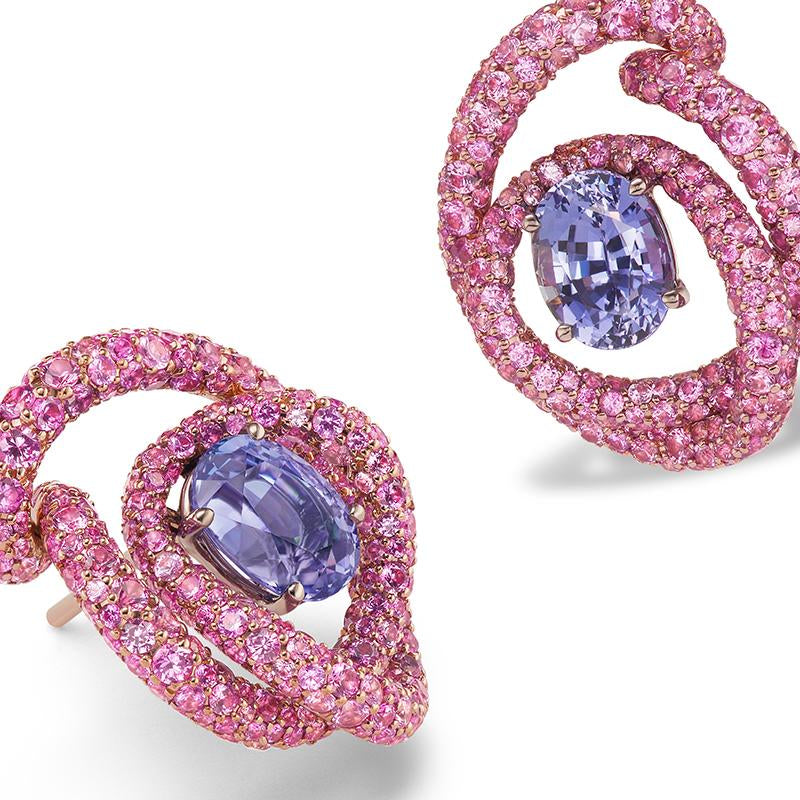 Irita ear clips with swirls of pink sapphires and oval violet sapphires