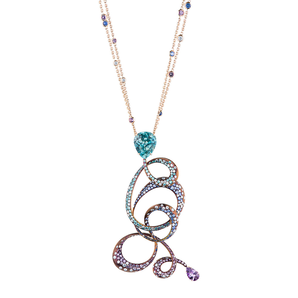 Irene necklace in rare natural colored gemstones and diamonds.