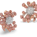 Pink Chrys earrings in pink and white diamonds