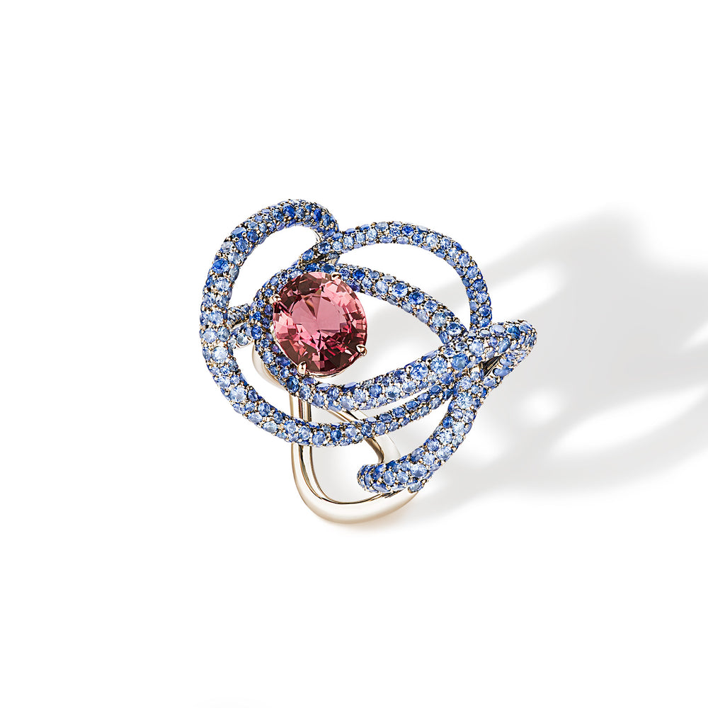 Kephi ring in red and blue sapphires